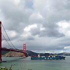 Golden Gate Bridge with passing container ship by Lenny La Rue, IPA