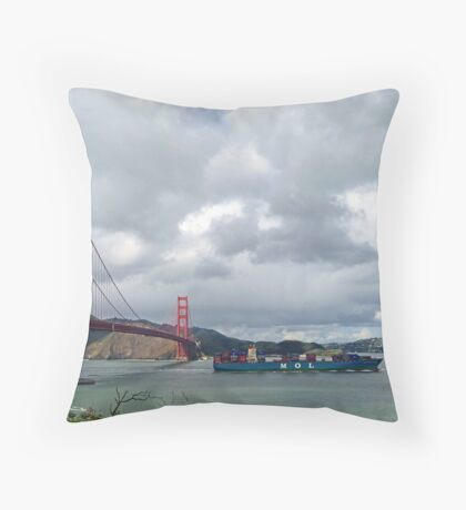 Golden Gate Bridge with passing container ship Throw Pillow