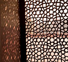 Light coming through the stone lattice at Humayun Tomb by ashishagarwal74