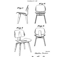 Mid Century Eames Patent Drawings for DCW Molded Plywood Chair  by Framerkat