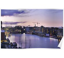 Grand Canal Basin, Sunset from above, Ringsend, Dublin Poster