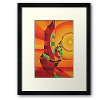 Cubist Junks on A Red Sea Framed Print