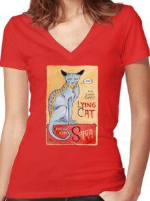 Lying Cat Women's Fitted V-Neck T-Shirt