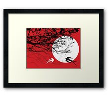Oriental Swallows In Moonlight  Framed Print