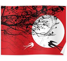 Oriental Swallows In Moonlight  Poster
