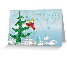Lulu-Owl on Christmas Tree Greeting Card