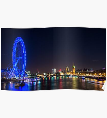 London Skyline at Night Poster