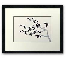 Zen Black Sakura Cherry Blossoms Flowers Framed Print