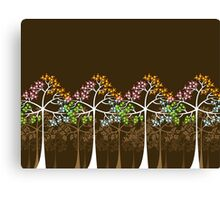 Colorful Four Seasons Trees Canvas Print