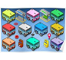 Isometric Rainbow Buses  Poster