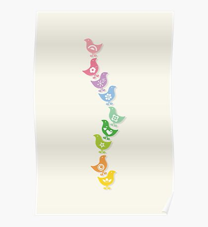 Balancing Retro Rainbow Chicks Poster