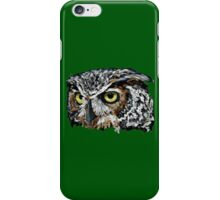 Great Horned Owl (Green)  iPhone Case/Skin