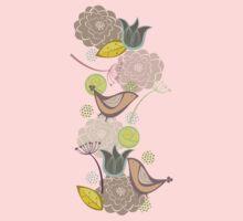 Pink Floral Potpourri Garden & Birds Kids Clothes