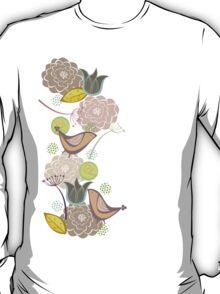 Pink Floral Potpourri Garden & Birds T-Shirt