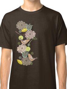 Pink Floral Potpourri Garden & Birds Classic T-Shirt