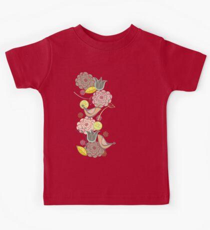 Pink Floral Potpourri Garden & Birds Kids Tee