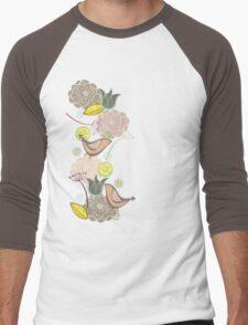 Pink Floral Potpourri Garden & Birds Men's Baseball ¾ T-Shirt