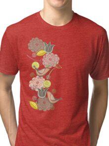 Pink Floral Potpourri Garden & Birds Tri-blend T-Shirt