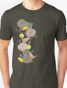 Pink Floral Potpourri Garden & Birds Unisex T-Shirt
