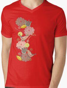 Pink Floral Potpourri Garden & Birds Mens V-Neck T-Shirt