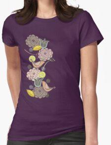 Pink Floral Potpourri Garden & Birds Womens Fitted T-Shirt