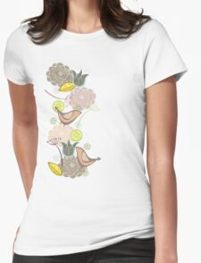 Pink Floral Potpourri Garden & Birds Womens Fitted T-Shirt