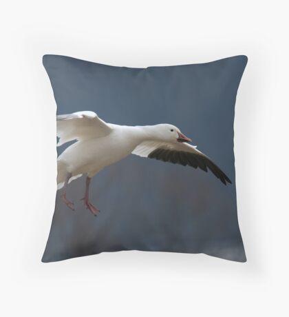 Snow Goose Flying Throw Pillow