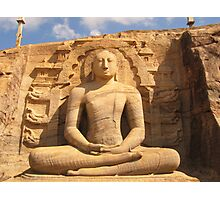 Buddha Statue in Rock Photographic Print