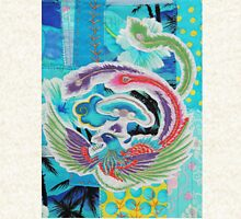 Textile Art, Blue Phoenix, fabric collage Zipped Hoodie
