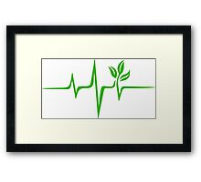 Heartbeat, Pulse Green, Vegan, Frequency, Wave, Earth, Planet Framed Print