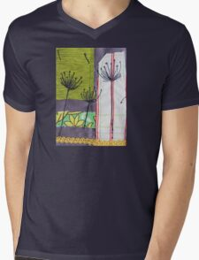 Textile Art Dandelion Mens V-Neck T-Shirt