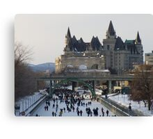 Skaters on the Ottawa Canal Canvas Print