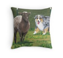 Fetch ~ Australian Shepherd ~ Oil Painting  Throw Pillow