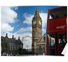 London: London eye, big ben and a red bus Poster