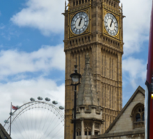 London: London eye, big ben and a red bus Sticker