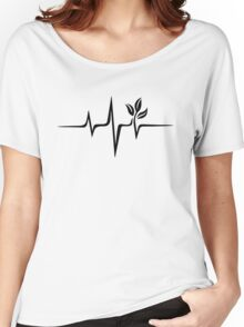 Heartbeat, Pulse Green, Vegan, Frequency, Wave, Earth, Planet Women's Relaxed Fit T-Shirt
