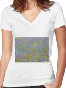 The Flowers, Impressionist Photography Women's Fitted V-Neck T-Shirt