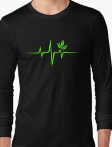 Heartbeat, Pulse Green, Vegan, Frequency, Wave, Earth, Planet Long Sleeve T-Shirt