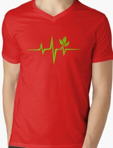 Heartbeat, Pulse Green, Vegan, Frequency, Wave, Earth, Planet Mens V-Neck T-Shirt