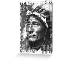 Vintage Native American Portrait In Black and White Greeting Card