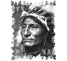 Vintage Native American Portrait In Black and White Photographic Print