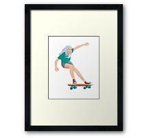 Skateboard chick blond Framed Print