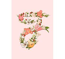 F for Flowers pink Photographic Print