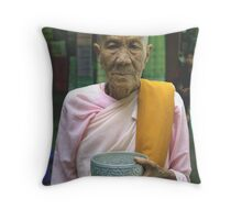 Buddhist nun, Rangoon, Burma. Throw Pillow