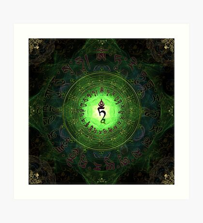Green Tara Mantra- Protection from dangers and suffering. Art Print