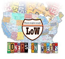 Loners on Wheels License Plate Map of the USA Gear by designturnpike