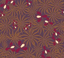 Painted exotic orchids flowers retro pattern by fuzzyfox
