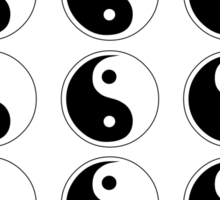 yin yang black Sticker