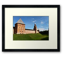 fortress wall of the Novgorod Kremlin Framed Print