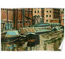 Old Barges - Gloucester Docks Poster